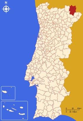 Município de Bragança no mapa de Portugal