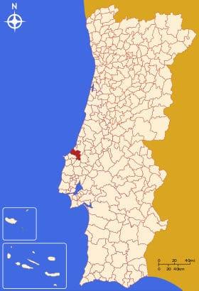 Município de Caldas da Rainha no mapa de Portugal