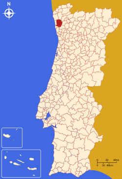 Localização do concelho de Abrantes no mapa de Portugal