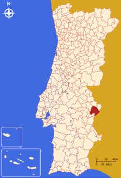 Município de Elvas no mapa de Portugal