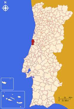 Município da Figueira da Foz no mapa de Portugal