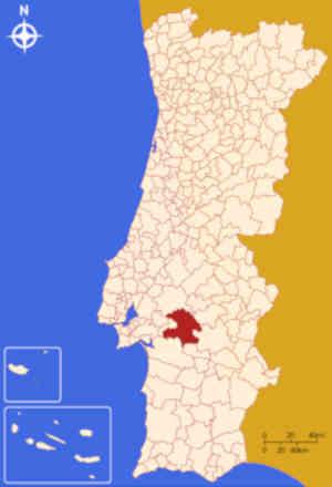 Município de Montemor-o-Novo no mapa de Portugal