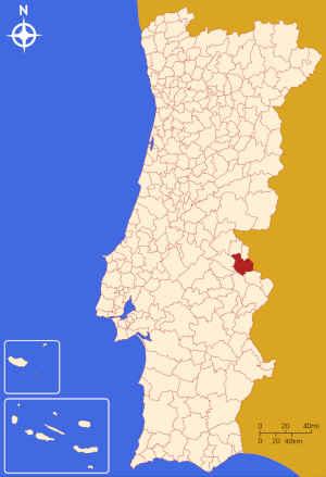 Município de Portalegre no mapa de Portugal