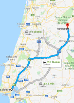 Como chegar ao Fundão a partir de Lisboa