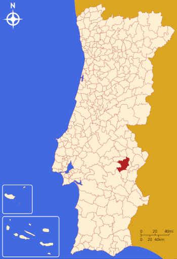 Localização do município de Estremoz no mapa de Portugal
