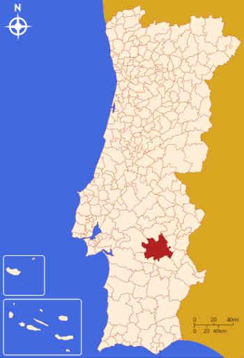 Expressão do concelho de Évora no mapa de Portugal