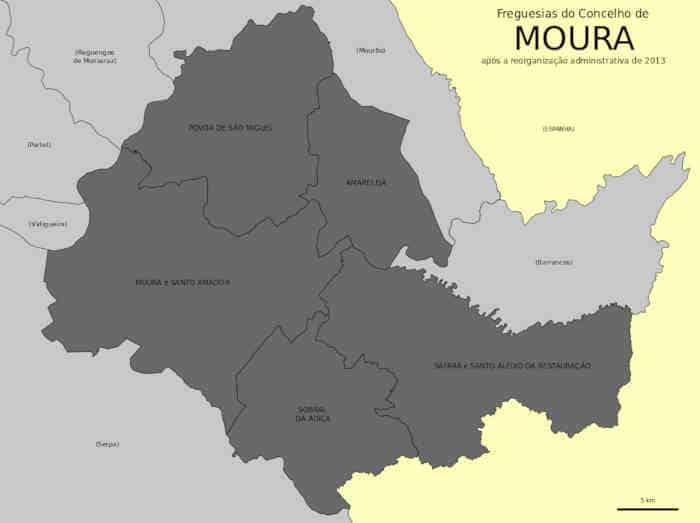 Mapa das 5 freguesias do município de Moura