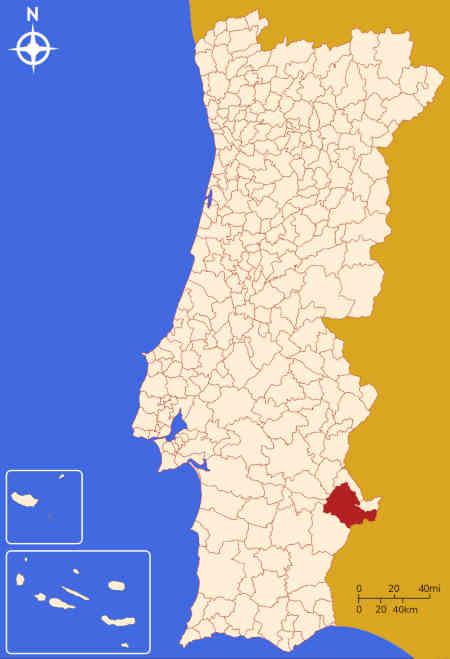 Localização do Concelho de Moura no mapa de Portugal