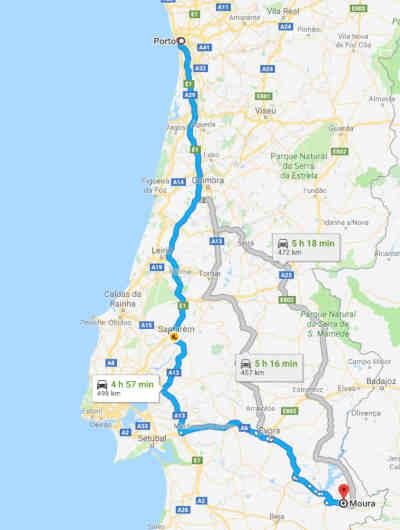 Mapa com o percurso do Porto até Moura (Alentejo)