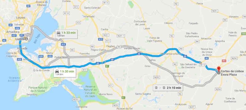 Mapa com o trajeto entre Lisboa e Évora