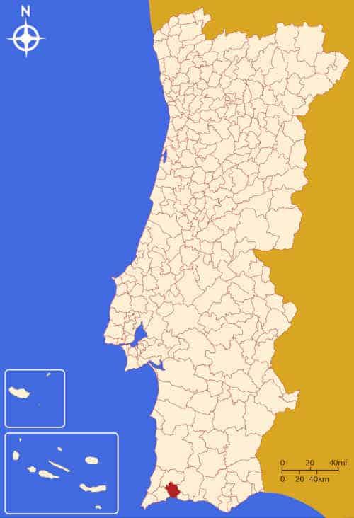 Localização do concelho de Portimão no mapa de Portugal