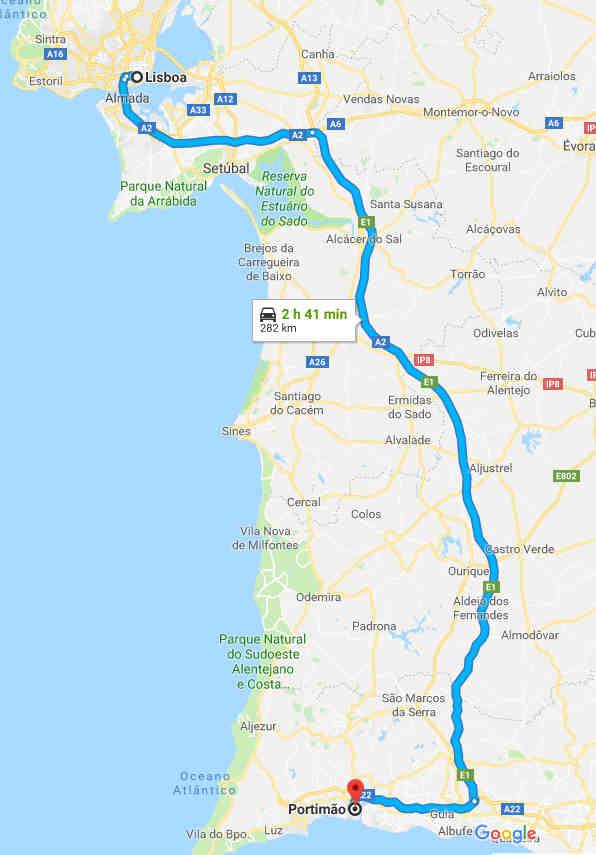 Trajeto entre Lisboa e Portimão