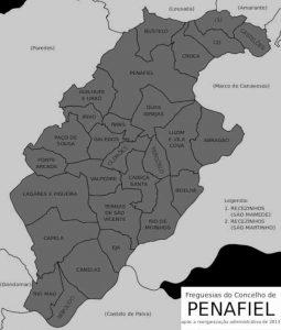 Mapa com o limite das freguesias do concelho de Penafiel