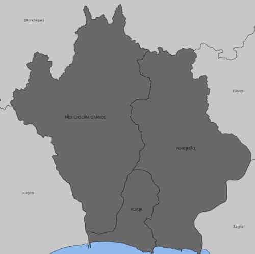 Mapa com as Freguesias de Portimão