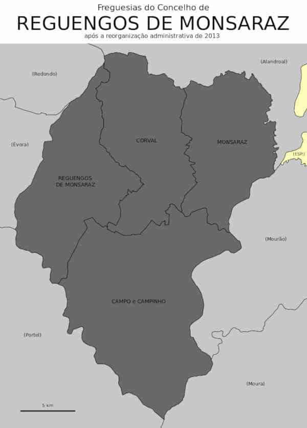 Mapa exibindo os limites das freguesias do concelho de Reguengos de Monsaraz