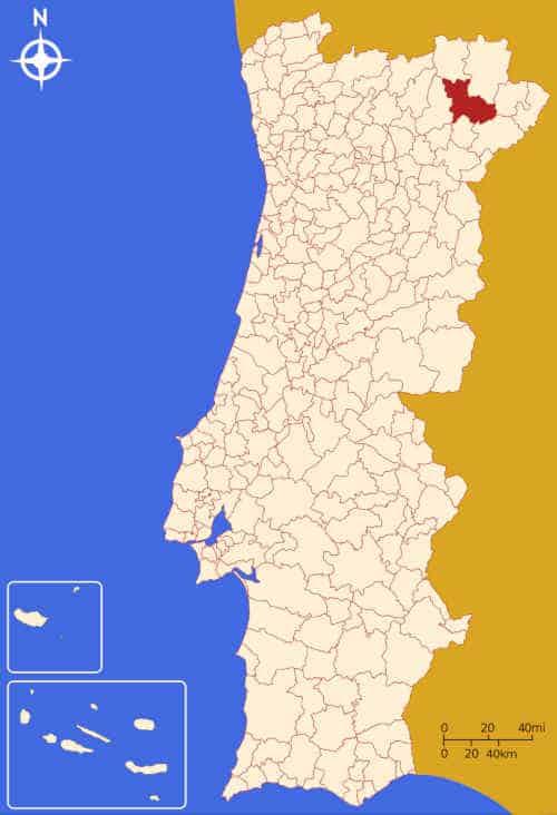 Município de Macedo de Cavaleiros no mapa de Portugal