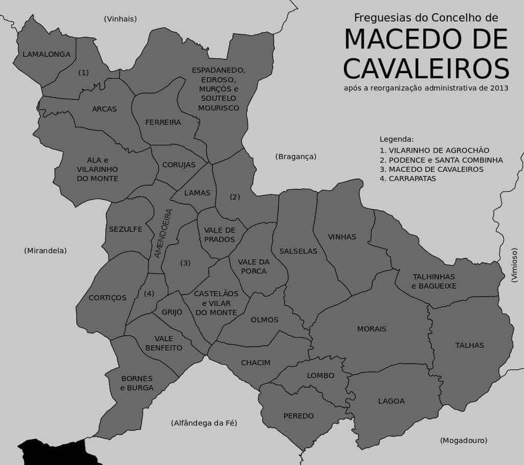 Mapa com as freguesias de Macedo de Cavaleiros