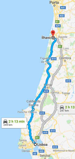 Mapa com as direções de Lisboa para Ílhavo