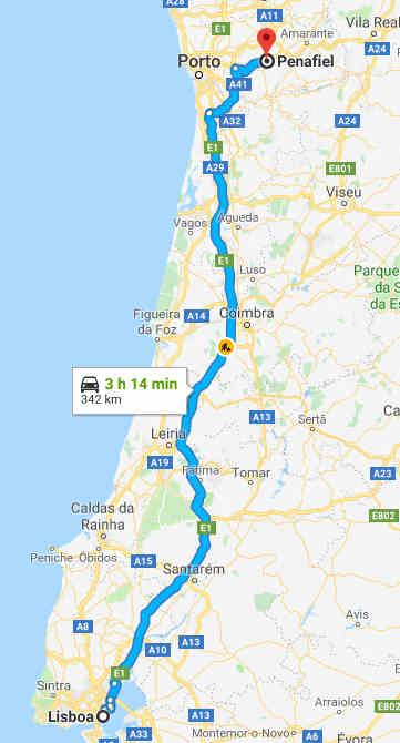 Mapa com o trajeto entre Lisboa e Penafiel