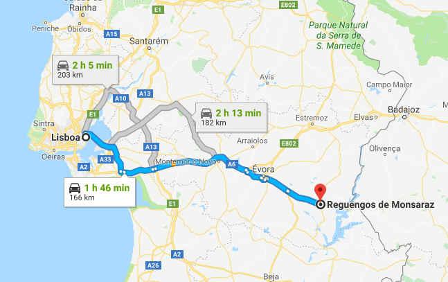 Mapa com o itinerário entre Lisboa e Reguengos de Monsaraz