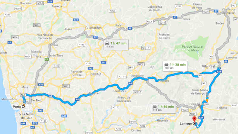 Mapa com o itinerário entre Porto e Lamego