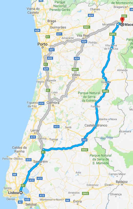 Mapa com o trajeto Lisboa - Macedo de Cavaleiros (por estrada)