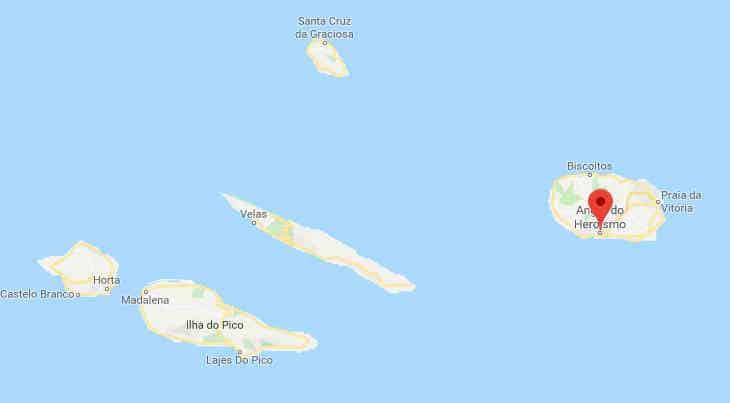 Localização de Angra do Heroísmo no mapa - Grupo Central do Arquipélago dos Açores