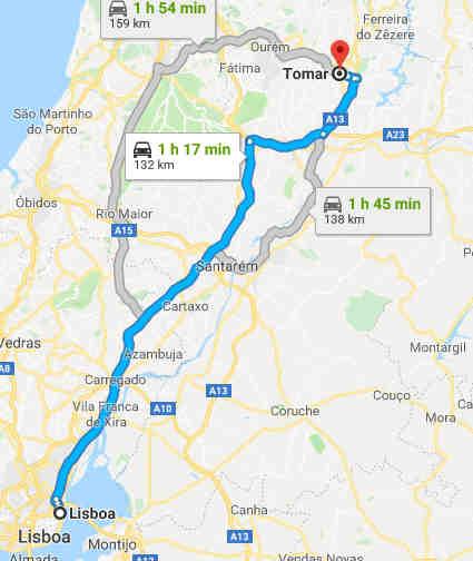 Mapa com o trajeto Lisboa - Tomar