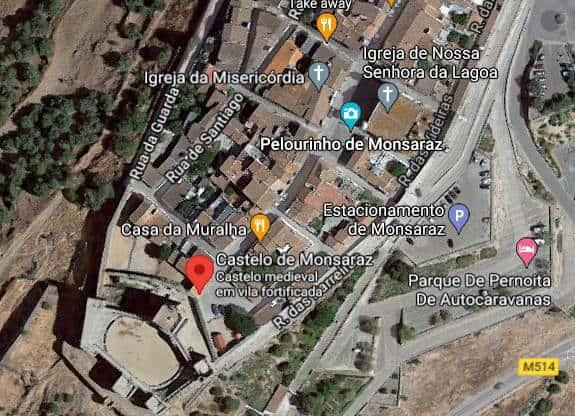 Localização do Castelo de Mosaraz - imagem de satélite