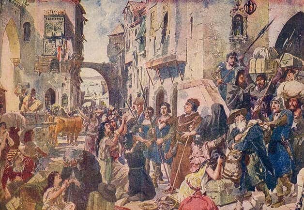 Pintura de Roque Gameiro que representa a perseguição aos Cristãos-Novos.