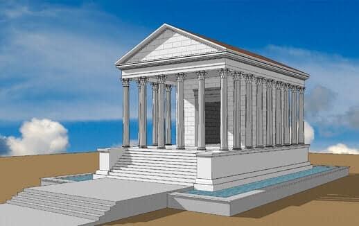 Desenho do Templo Romano de Évora como seria quando foi construído