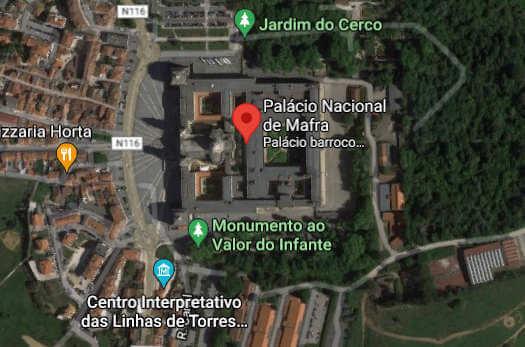 Localização do Convento de Mafra (Google Maps)