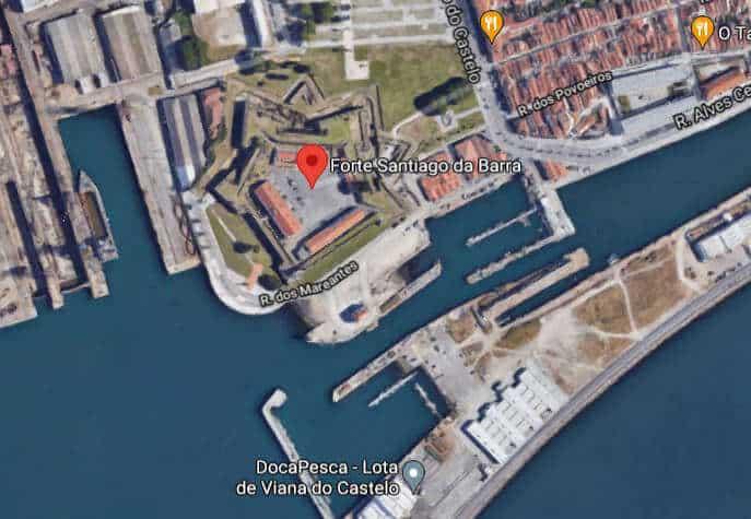 Imagem de satélite do Forte de Santiago da Barra em Viana do Castelo